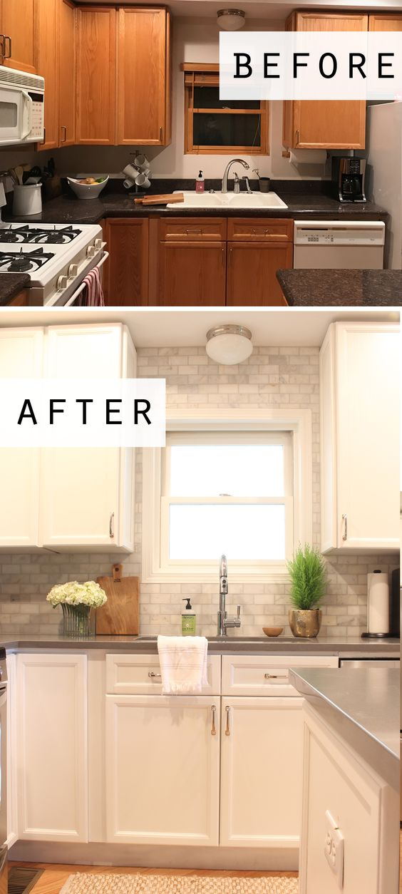 Cottage style before and after kitchen makeover featuring white cabinets, quartz countertops, and a marble subway tile backsplash up to the ceiling