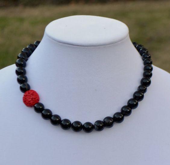 Asymmetrical Black Agate and Cinnabar Necklace  by SeaSaltShop, $24.00