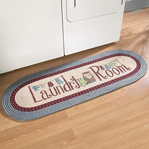 Collections Etc Braided Laundry Room Floor Runner Rug With Blue
