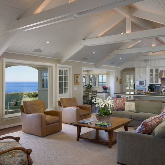 fabulous white living rooms vaulted ceilings beams | Cathedral ceiling living room. 4537ViaEsperanzaFmKitch ...