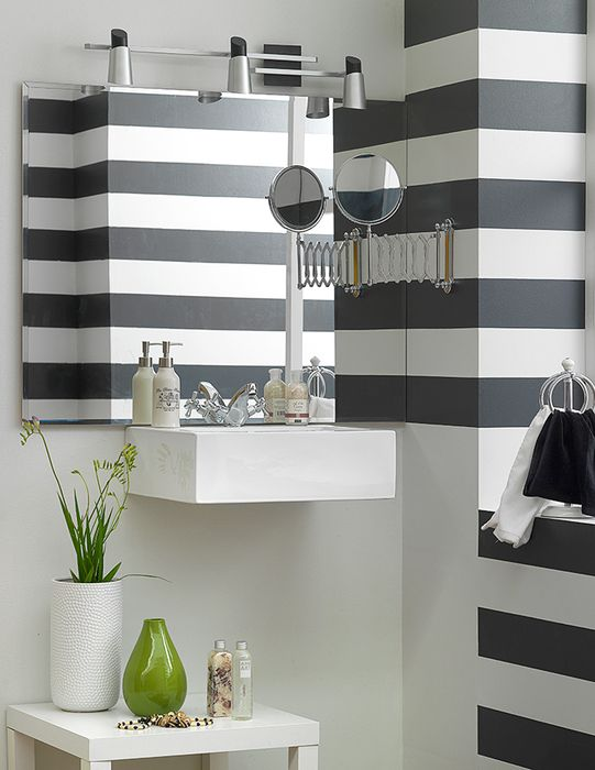 Decoracion Baños Homecenter: baño? #Decoración #Pintura #Rayas #Baño #PinturaBaño #Homecenter