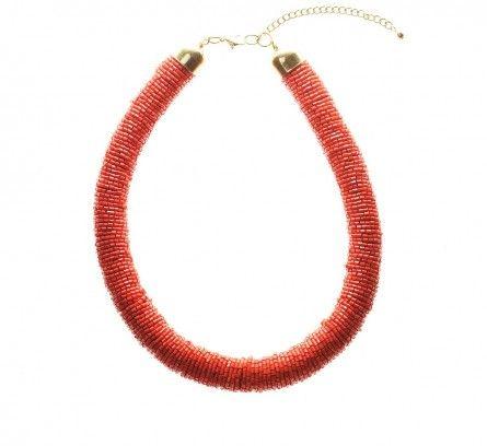 Orange Tango Bugle Bead Tube Necklace LOVISA $19.99