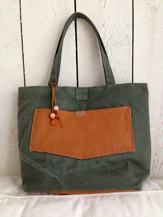 gewachste Green canvas Tasche mit Leder, Umhängetasche, Tasche