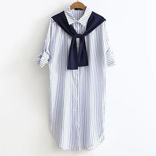 Buy Angel Love Mock Two Piece Striped Elbow Sleeve Shirt Dress at YesStyle.com…