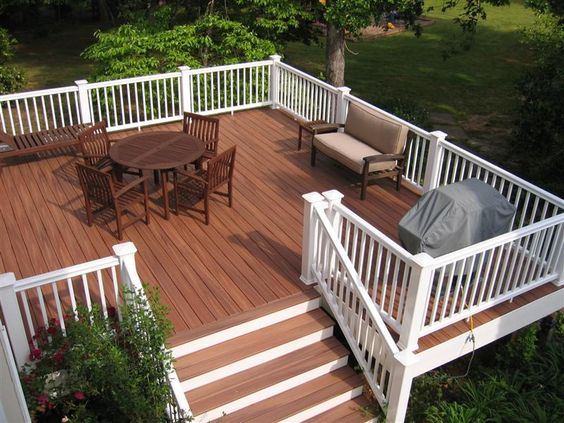 Redwood stained deck with white railing i love the for Redwood deck plans
