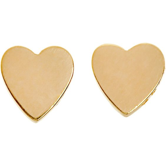 Jennifer Meyer Gold Small Heart Stud Earrings found on Polyvore