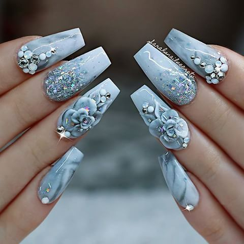 Repost Awesome White Grey Marble Nails Topped With Glitter Crystals And 3d Flowers Picture And 3d Nail Designs 3d Nail Art Designs Bling Nails