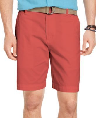 Izod Belted Twill Flat Front Shorts