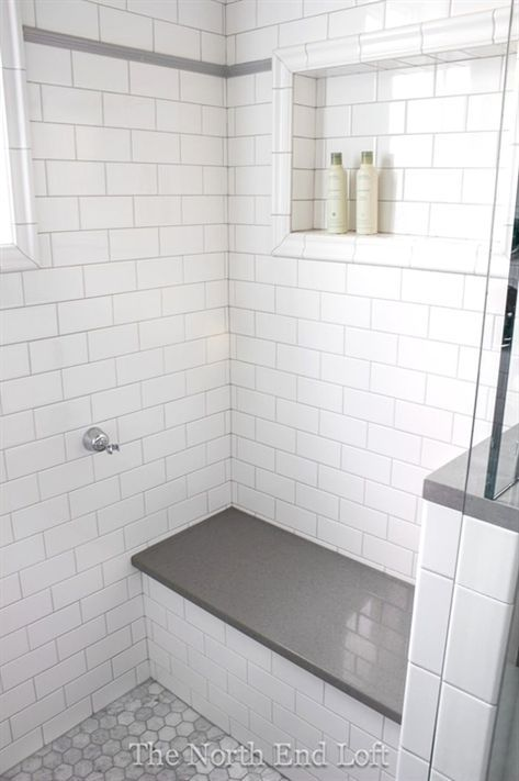 64 Ideas For Farmhouse Small Bathroom White Subway Tiles White Tile Shower Tile Shower Niche Bathroom Closet Designs