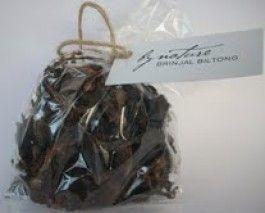 Dried brinjal biltong Ingredients : Dried brinjals, apple cider vinegar, tamari sauce, molasses, raw honey, himalayan rock salt, spices. Sto...