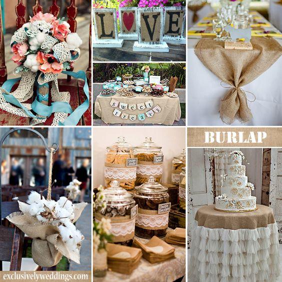 Rustic Mexican Wedding Theme: Burlap Wedding Decorations #exclusivelyweddings