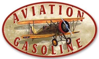 Aviation Gasoline | Sign | Metal | Steel | Oval | A Simpler Time