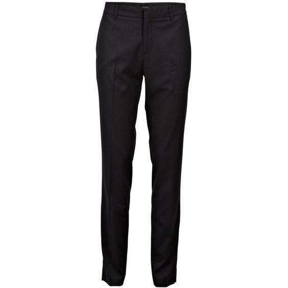 Selected Slim Fit - Suit Pants ($92) ❤ liked on Polyvore featuring pants, trousers, black, slim black pants, black dress pants, zip pants, dress pants and slim fit suit pants