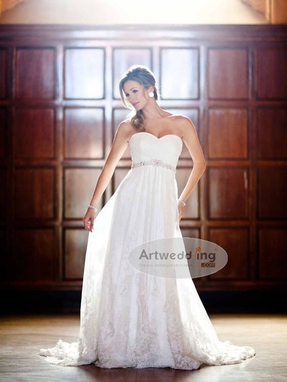 Appliqued Sweetheart Tulle Empire Bridal Gown with Beaded Belt.$139.00