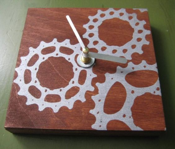 Chain-set cogs inset into wood