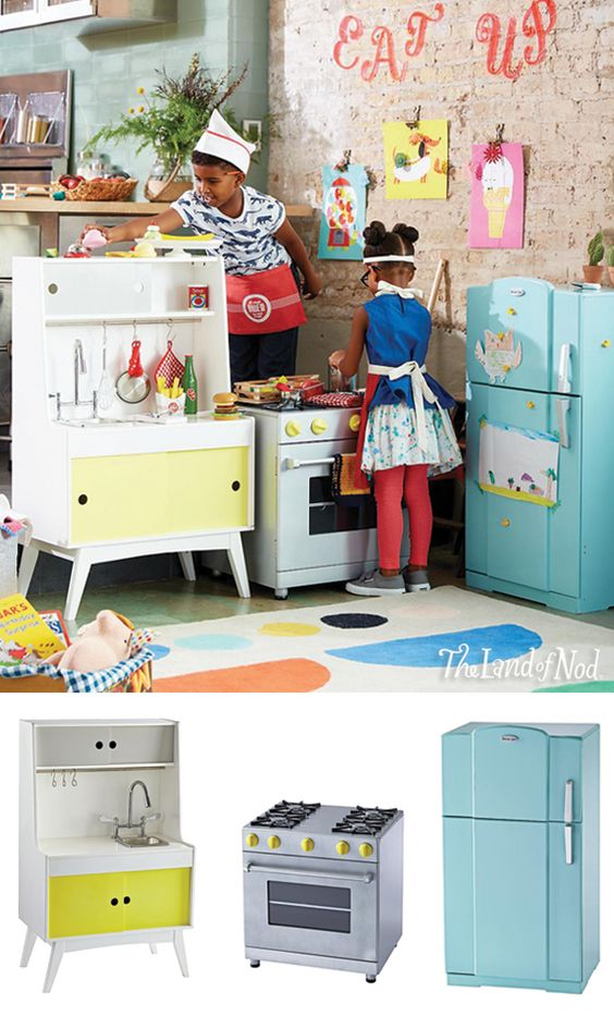 The Land of Nod has made it easier than ever for your kids to whip up incredible make-believe meals like a pro. With our Future Foodie Play Kitchen set, kids will instantly have all the essentials they'll need for the tastiest imaginary play ever. It features a Play Stove with an interior compartment and knobs, an opening and closing Play Fridge, and a Play Kitchen Sink with hooks to hang pots and pots. And the quality construction makes these pieces of kids furniture a worthy investment.