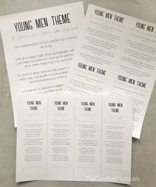 New Young Men Theme Free Printables The Creative Mom Lds Youth Young Man Free Printables