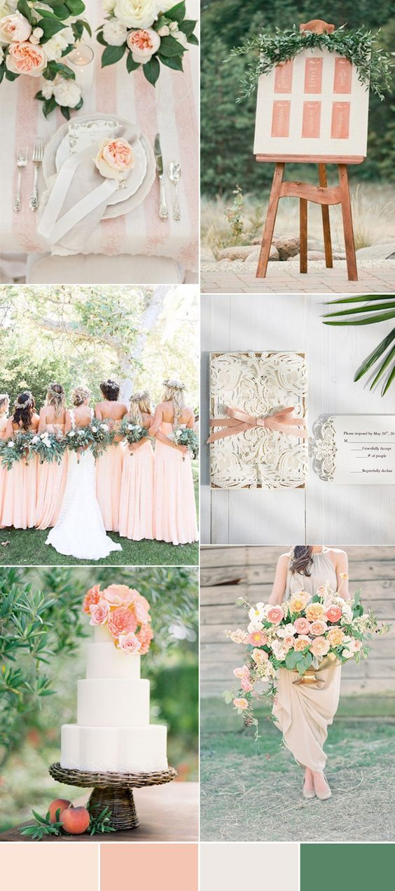 the best green wedding colors combined with peach