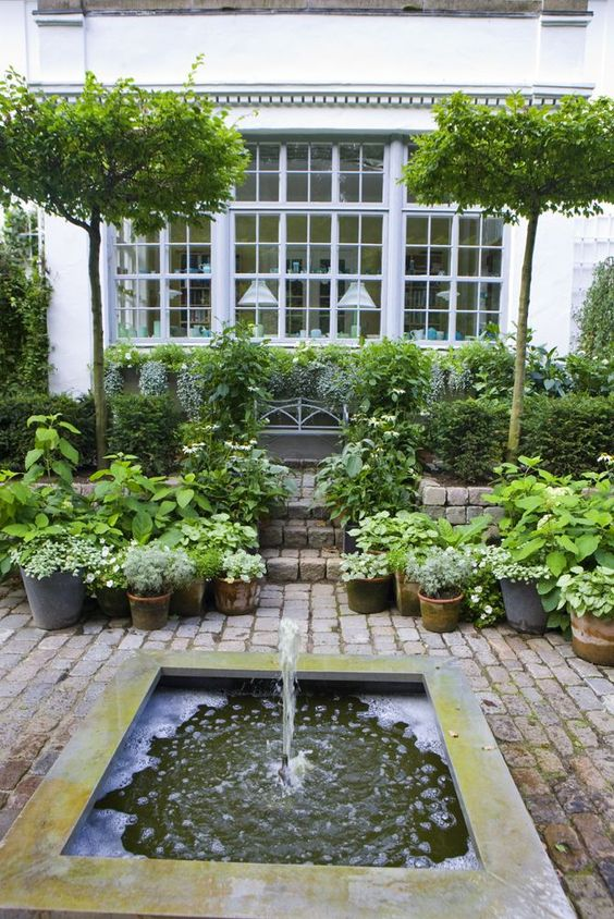 Patio fountain brick patios and water features on pinterest for Garden reflecting pool