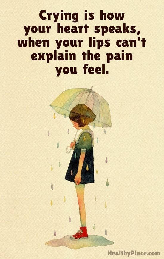 Depression quote - Crying is how your heart speaks, when your lips can't explain the pain you feel.: