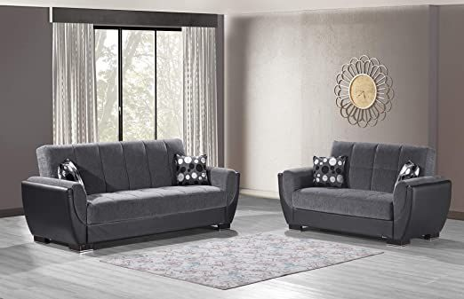 Ottomanson Air Sb 118 Air Dark Gray Black Fabric Upholstery Sleeper Sofabed With Storage 36 Quot X 92 Quot X 38 Quot Fabric Sofa Black Sofa Sofa