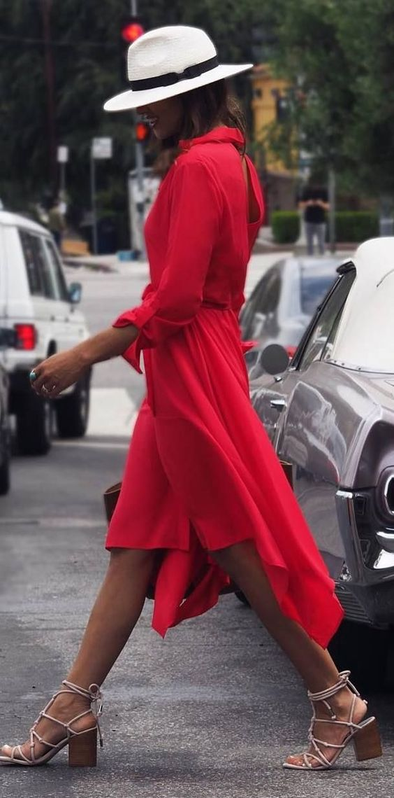casual style addiction hat + red dress