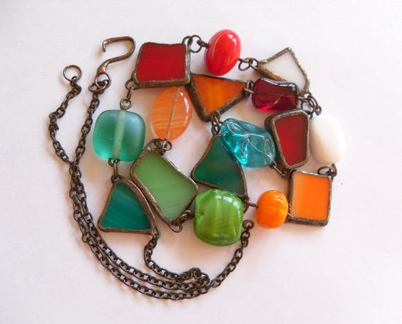 Statement necklace stained glass copper wire by ArtemisFantasy, $75.00
