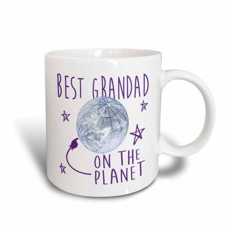 3dRose Best Grandad on Planet Earth Design with Purple Text, Ceramic Mug, 15-ounce