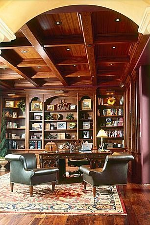 Great Traditional Home Office Except Those Bizarre Chairs