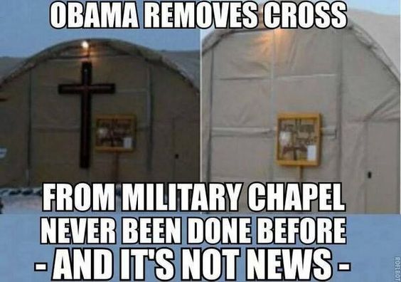 Obama removes cross from Military Chapel. I didn't hear this on the news!https://www.: