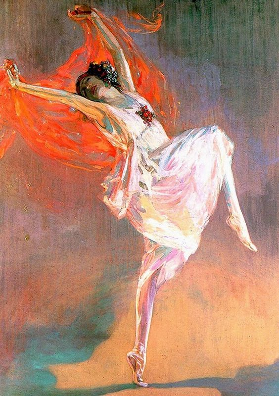 """Anna Pavlova (1911). John Lavery (Irish, 1856-1941). Oil on canvas. Glasgow Museums: Kelvingrove Art Gallery and Museum. The Observer critic wrote on 16 April 1911: """"Mr. Lavery's portrait of the Russian dancer, Anna Pavlova, caught in a moment of graceful, weightless movement … Her miraculous, feather-like flight, which seems to defy the law of gravitation."""":"""