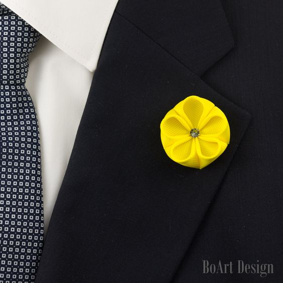 Yellow Kanzashi Flower Lapel Pin with Swarovski Silver Night Crystal by BoArtDesign on Etsy