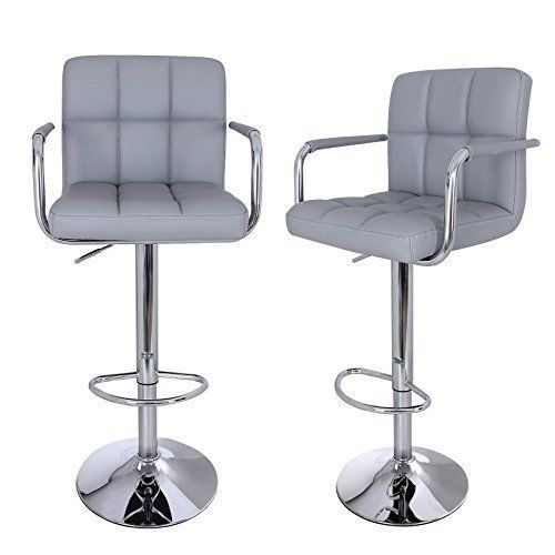 Kitchen Bar Stools Pair High Chairs Backrest Swivel Leather Seats Padded Grey Bar Stools Kitchen Bar Stools Home Bar Furniture