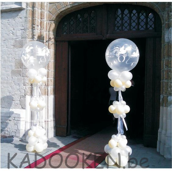 Ballonzuilen ballon pilonen feestzaaldecoratie huwelijk