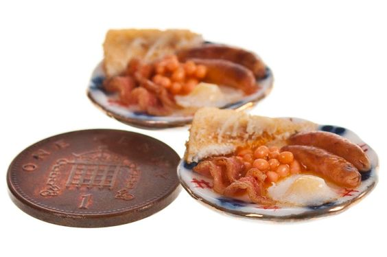 cooked breakfast with tea for two dollhouse miniature food