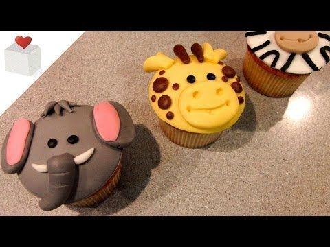Cómo hacer Cupcakes Animales de la Selva (elefante, jirafa y cebra) | Cupcakes por Azúcar con Amor - YouTube