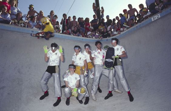 """So geeked I found this picture. I remember this from an issue of Skateboarder magazine back in the d.a.y. It's Devo in a pool at a skatepark out in Pomona. Some young shredder is ripping tiles over their heads. When I was 14 years old, this photo represented everything I loved. Epic!"" Holy. Crap."