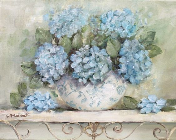 Hydrangeas on a French Scrolly ShelfGail McCormack