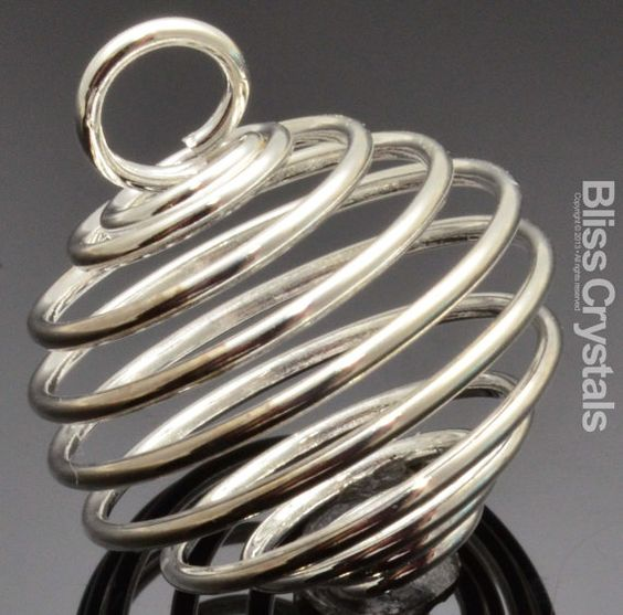 20 mm Spiral Bead Crystal Cage Pendant Silver Plated Small Bead Finding Gem