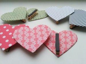 Herzklammern / Heart pegs / Upcycling
