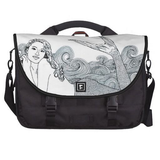 Commuter Laptop Travel Bag  Curly Wave Mermaid Laptop Computer Bag