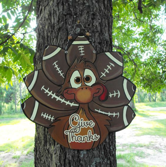Turkey Football so cute Ready to personalize Turkey sign thanksgiving by PaintHappens2Us