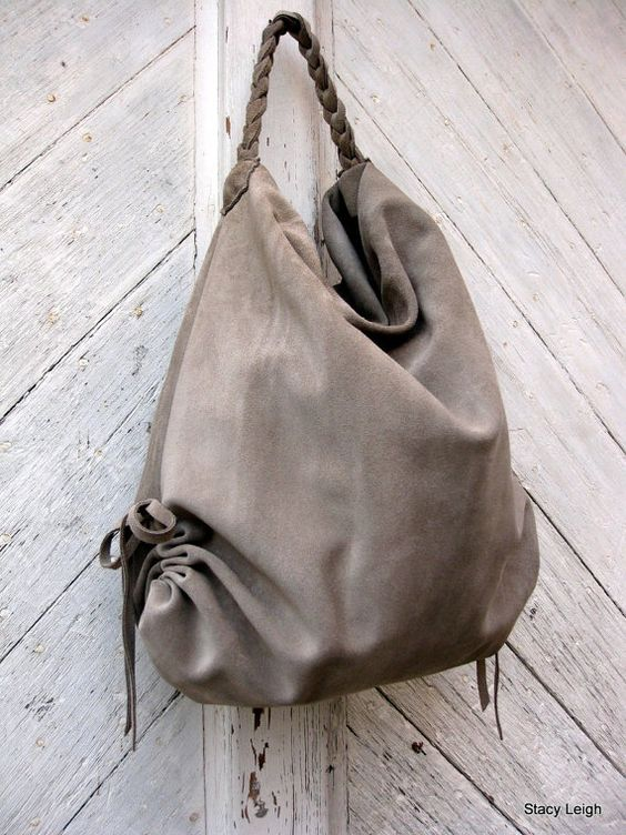 Slouchy Leather Hobo Bag in Beige Suede by Stacy by stacyleigh