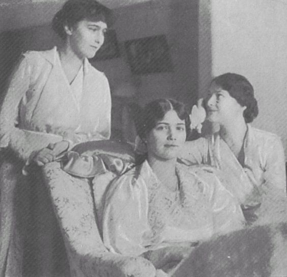 From left to right Anastasia, Maria and Tatiana. This photograph was taken towards the end of the summer of 1917.: