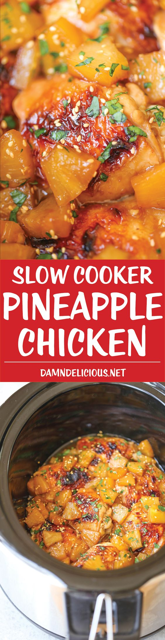 Slow Cooker Pineapple Chicken - Sweet, tangy chicken made right in ...