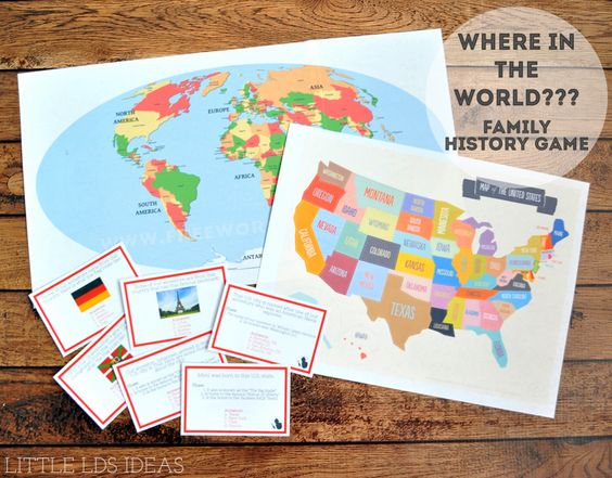 Where In The World? Family History Game Created by Sheena at LittleLDSIdeas