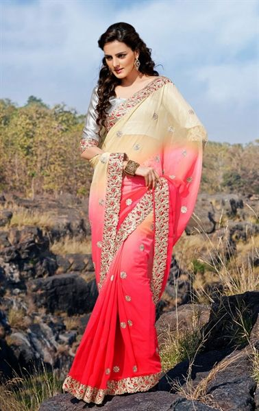 Picture of Pretty Looking Cream and Pink Chiffon Wedding Saree Online Shopping