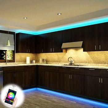 Led Strip Light Smart Phone Controlled Wifi Waterproof Led Tape Lights Works With Android And Ios Ifttt Google Assistant And Alexa 16 4ft Rgb Color Changing F Kitchen Led Lighting Strip Lighting Led Strip