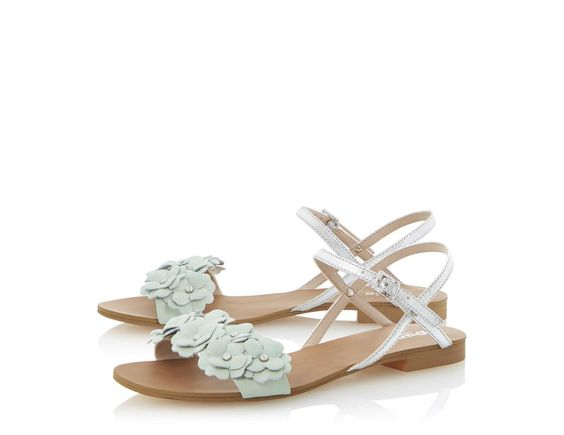 DUNE LADIES JUNIPA - Flat Sandal with Front Flower Detail mint