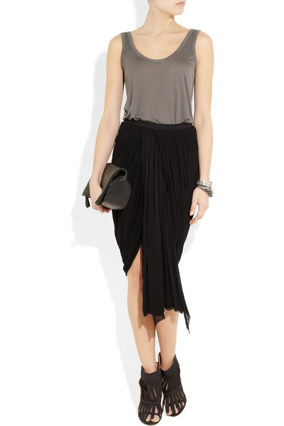 The Row jersey tank Shown here with: Nixon watch, Giles & Brother bracelet, Rick Owens skirt, Maison Martin Margiela shoes and clutch.  source: http://www.net-a-porter.com/product/312366: Product 312366, Row Jersey, Nixon Watches, The Row, Owens Skirt